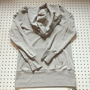 Gray Long Hooded Sweatshirt, Size Large